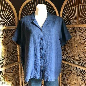 FLAX 100% Linen Button Up Short Sleeve Top Medium